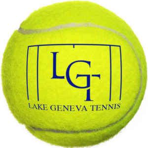 A tennis ball with the LGT logo on it.