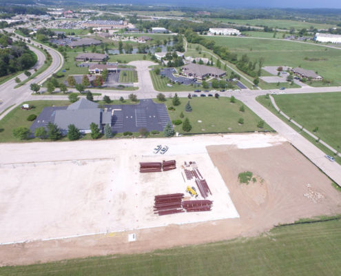 A drone captures an overhead view of what will be LGT.